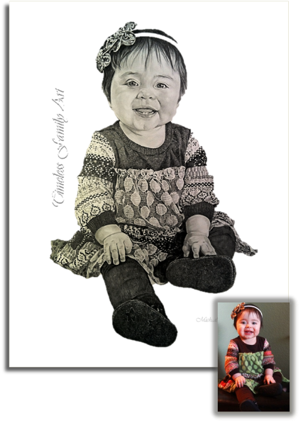 Baby Girl In Dress Pencil Drawing Mike Kitchens