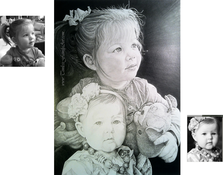 Young Sisters Pencil Drawing Emma Charlotte Mike Kitchens