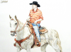 white-quarter-horse-mail-rider-colored-pencil-mike-kitchens-2012