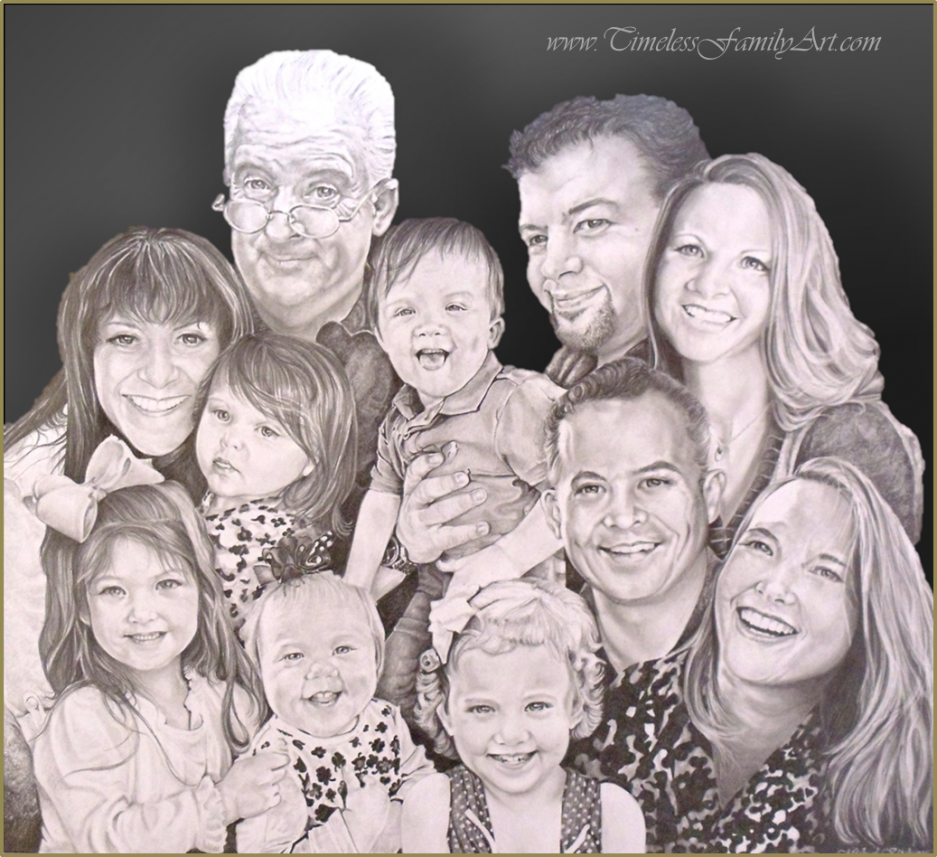 Family Portrait Pencil Drawing - Mike Kitchens
