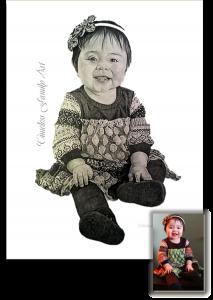 Baby Girl In Dress Pencil