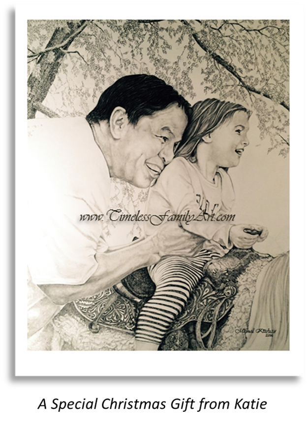 Father & Daughter on Horse MIke Kitchens Pencil Drawing B