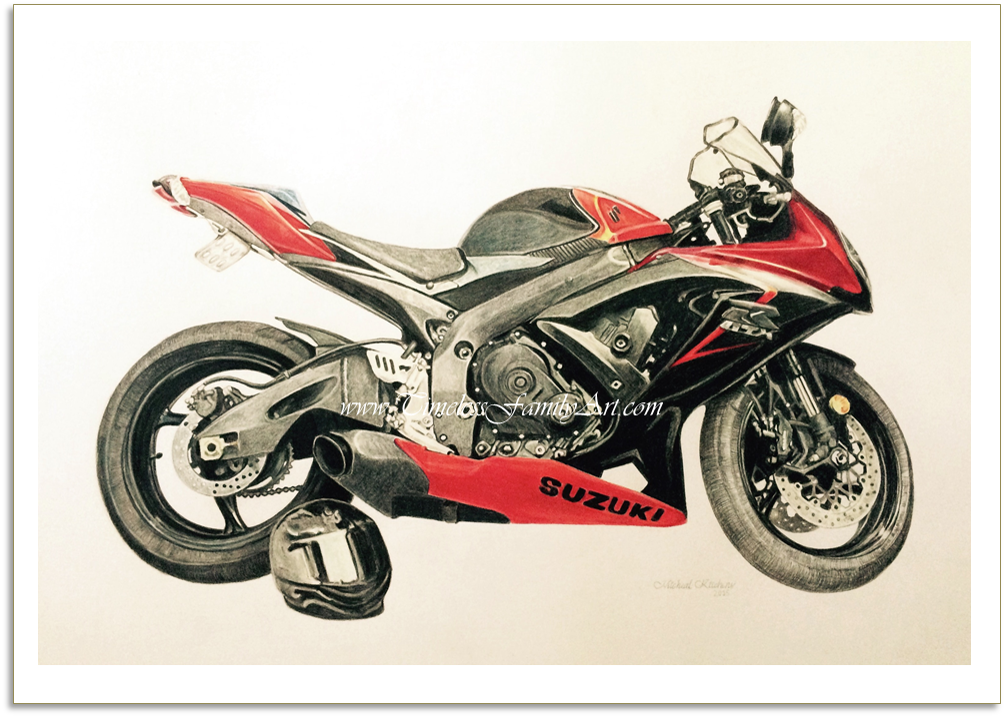 Motorcycle Color Pencil Drawing Mike Kitchens A 09132015